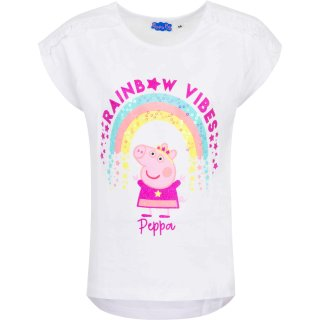 Peppa Pig Kinder T-Shirt Peppa Wutz Regenbogen weiß