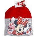 Disney Minnie Mouse Mütze Beanie rot grau...