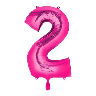 Ballon XL - Zahl 2 - Pink