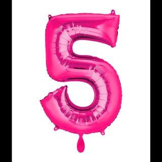 Ballon XL - Zahl 5 - Pink