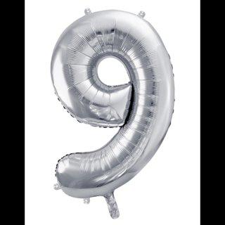 Ballon XXL - Zahl 9 - Silber
