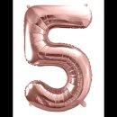Ballon XXL - Zahl 5 - Rosegold