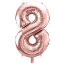 Ballon XXL - Zahl 8 - Rosegold
