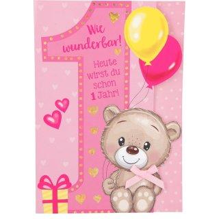 Kinder-Glückwunschkarte 1.Geburtstag - Motiv1