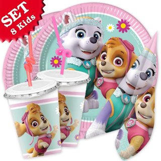 PAW PATROL Party-Set Mädchen 52-tlg Teller Becher Servietten