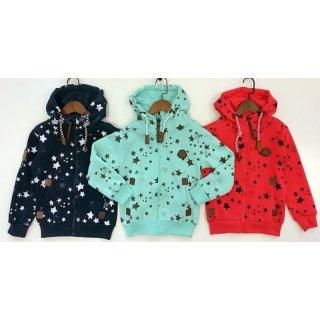 Kinder Sweatjacke Sterne blau, mint oder rot Squared and Cubed Kapuzenjacke