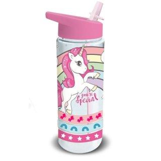 Einhorn Trinkflasche mit Strohhalm Unicorn 500ml