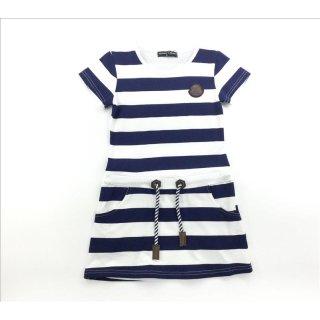 Squared & Cubed Kurzarm Kleid blau-weiß gestreift