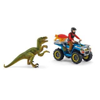 Schleich Dinosaurs Flucht auf Quad vor Velociraptor