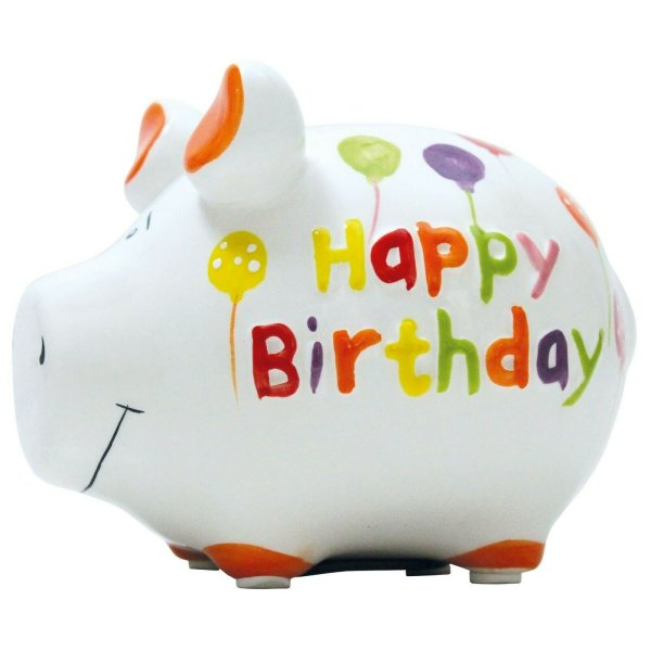 KCG Best of Sparschwein - Happy Birthday - Keramik handbemalt Spardose Geschenk