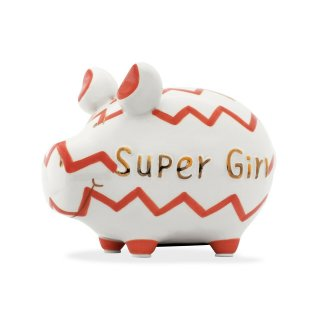 KCG Best of Sparschwein - Super Girl - Keramik handbemalt...