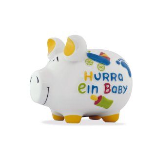 KCG Best of Sparschwein Groß - Hurra ein Baby - Keramik handbemalt XL Geburt