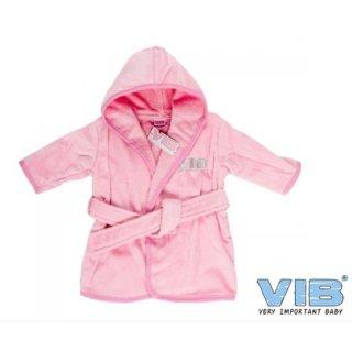 VIB® Baby Bademantel mit Kapuze Very Important Baby rosa 100% Baumwolle