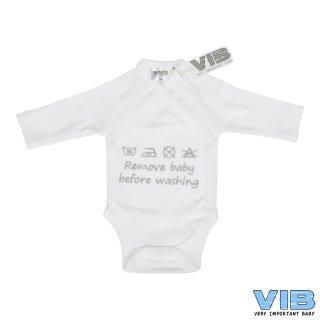 VIB® Baby Body Wickelbody Langarm Remove before washing Erstlingsausstattung