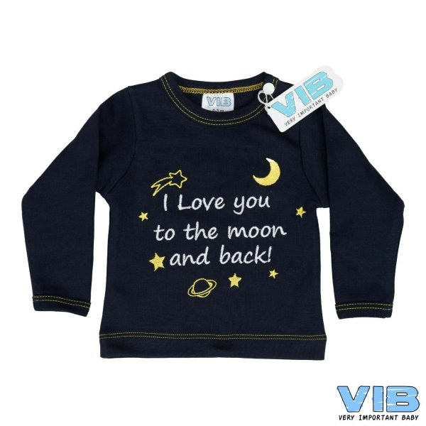 VIB® Baby Langarm Shirt blau, bestickt mit Spruch Love you to the moon and back