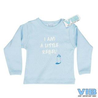VIB® Baby Langarm Shirt blau, mit Spruch I am a little Rebel