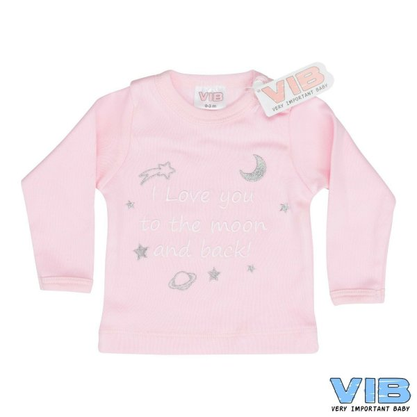 VIB® Baby Langarm Shirt rosa, bestickt mit Spruch Love you to the moon and back