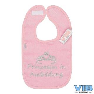 VIB® Baby Lätzchen Velours bestickt - Prinzessin in Ausbildung- Geschenk Geburt