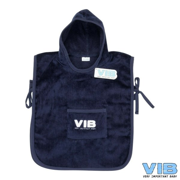 VIB® Baby Bade-Poncho Very Important Baby dunkelblau 100% Baumwolle Badetuch