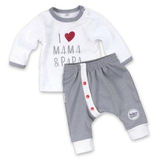Baby Sweets Set Hose und Shirt I Love Mama & Papa weiß-grau Babyset