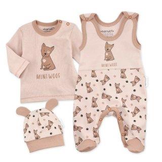 Baby Sweets Set Strampler Shirt und Mütze Mini Woof Bio-Baumwolle beige-braun