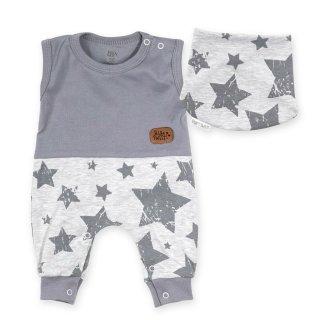 Baby Sweets Set Strampler und Halstuch grau Stars