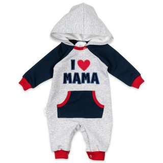 Baby Sweets Strampler Overall Jumpsuit I Love Mama hellgrau navy rot