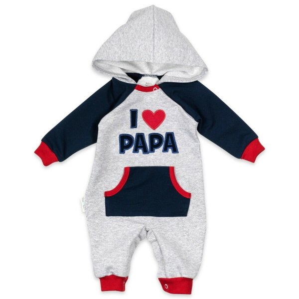 Baby Sweets Strampler Overall Jumpsuit I Love Papa hellgrau navy rot