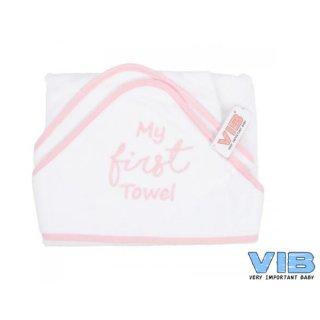 VIB® Baby Badetuch Kapuzentuch My first Towel weiß/rosa 100% Baumwolle