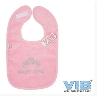 VIB® Baby Lätzchen Velours bestickt - Baby GIRL - Geschenk Geburt