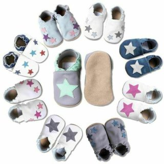 Hobea Baby Leder Krabbelschuhe Lederpuschen Sterne Krabbelpuschen Babyschuhe