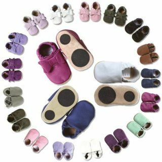Hobea Baby Leder Lauflernsche Lederpuschen Uni Babyschuhe Hausschuhe